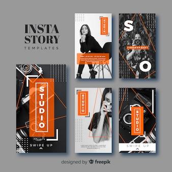 Coleção de modelos de histórias instagram de fotografia