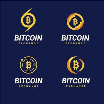 Coleção de modelos de logotipo bitcoin plano