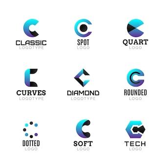 Coleção de modelos de logotipo c em gradiente