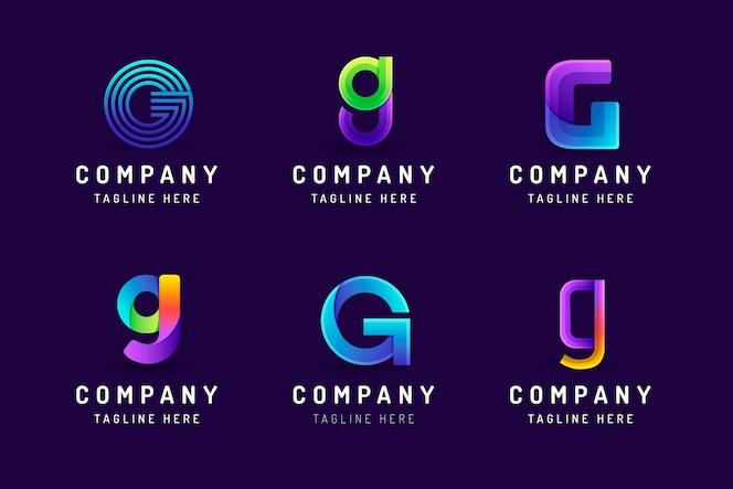 Coleção de modelos de logotipo da letra g gradiente