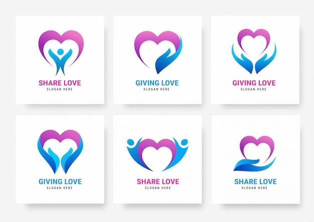 Coleção de modelos de logotipo de amor de compartilhamento