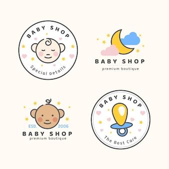 Coleção de modelos de logotipo de bebê fofo