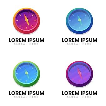 Coleção de modelos de logotipo de bússola com estilos coloridos
