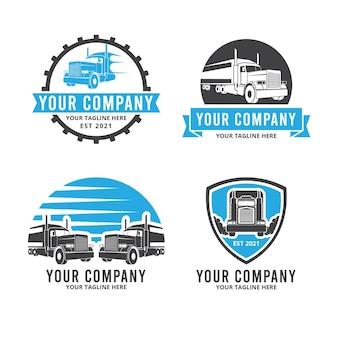 Coleção de modelos de logotipo de caminhão plano