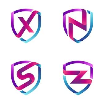 Coleção de modelos de logotipo de carta inicial e escudo