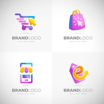 Coleção de modelos de logotipo de e-commerce gradiente