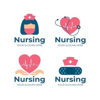 Coleção de modelos de logotipo de enfermeira de design plano