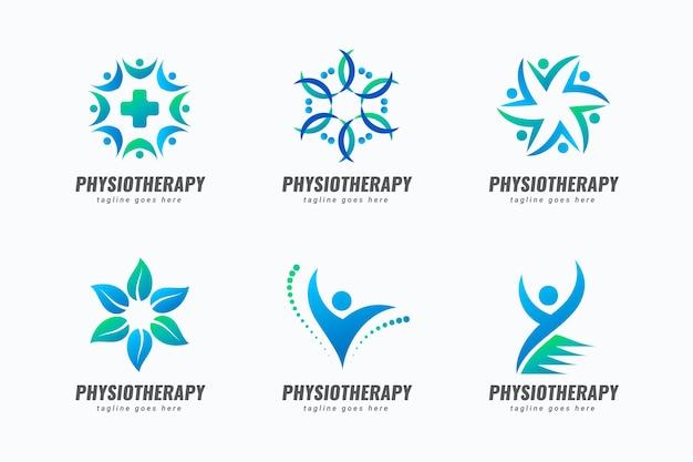 Coleção de modelos de logotipo de fisioterapia