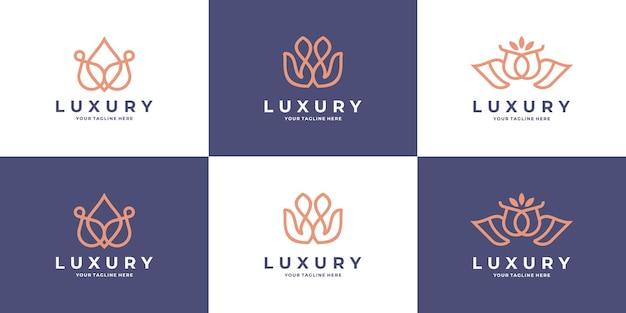 Coleção de modelos de logotipo de flor rosa abstrata