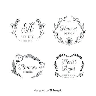 Coleção de modelos de logotipo de florista de casamento