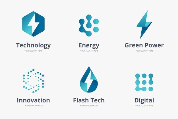Coleção de modelos de logotipo de gradiente eletrônico