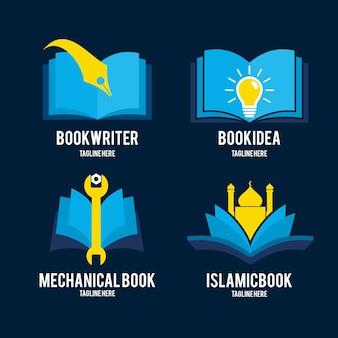 Coleção de modelos de logotipo de livro de design plano