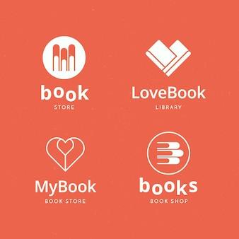 Coleção de modelos de logotipo de livro plano