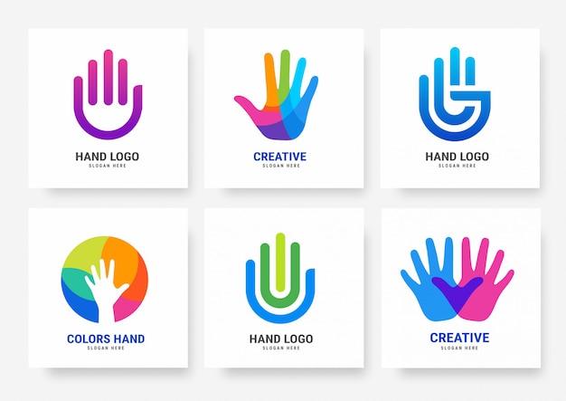 Coleção de modelos de logotipo de mão