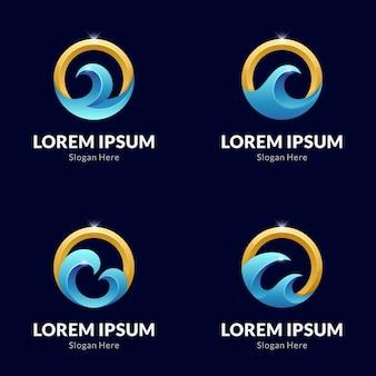 Coleção de modelos de logotipo de onda do mar e letra o