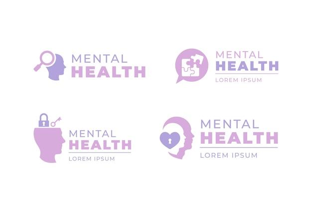Coleção de modelos de logotipo de saúde mental plana