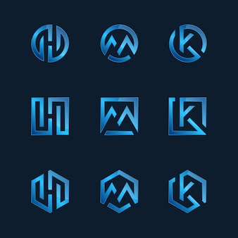 Coleção de modelos de logotipo de tecnologia gradiente