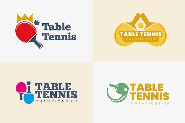 Coleção de modelos de logotipo de tênis de mesa