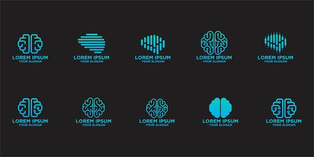 Coleção de modelos de logotipo do cérebro