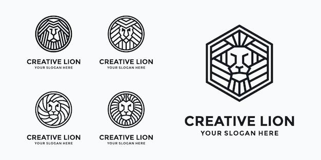 Coleção de modelos de logotipo do rei leão Vetor Premium