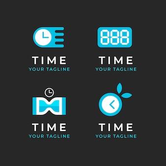 Coleção de modelos de logotipo em tempo plano