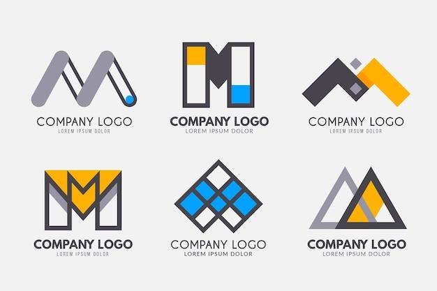 Coleção de modelos de logotipo flat m