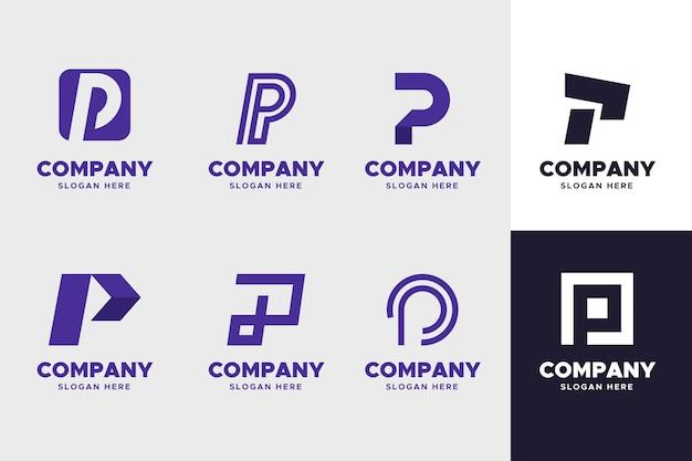 Coleção de modelos de logotipo flat p