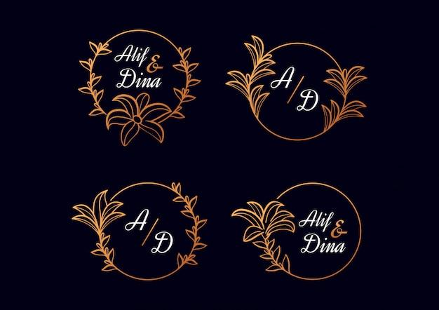 Coleção de modelos de logotipo floral casamento