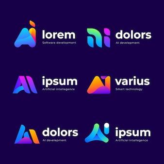 Coleção de modelos de logotipo gradiente ai
