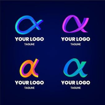 Coleção de modelos de logotipo gradiente alfa