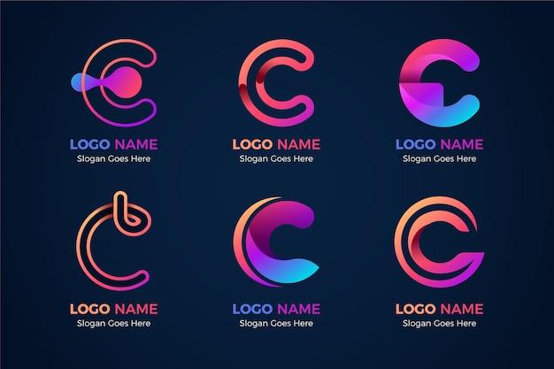 Coleção de modelos de logotipo gradiente c Vetor grátis