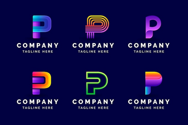 Coleção de modelos de logotipo gradiente p