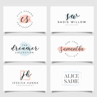 Coleção de modelos de logotipo. logotipos minimalistas. design do logotipo premade
