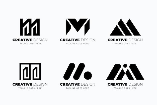 Coleção de modelos de logotipo m de design plano