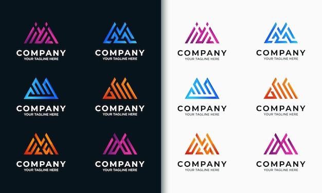 Coleção de modelos de logotipo m inicial da letra do monograma
