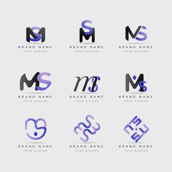 Coleção de modelos de logotipo ms de design plano
