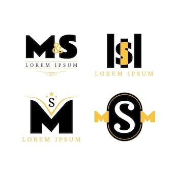 Coleção de modelos de logotipo ms flat