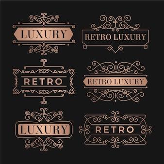 Coleção de modelos de logotipo retrô de luxo