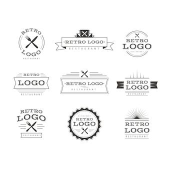 Coleção de modelos de logotipo retrô de restaurante