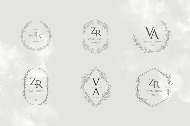 Coleção de modelos de monogramas com logotipo de casamento elegante e minimalista