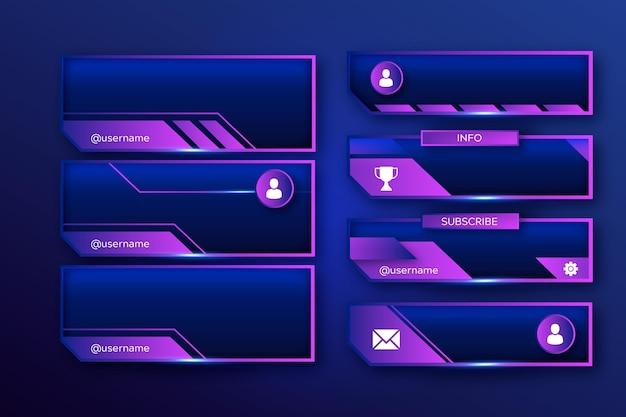 Coleção de modelos de painéis de fluxo do twitch