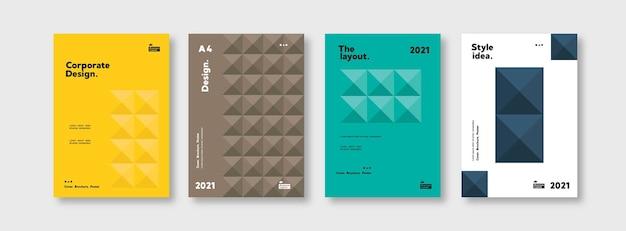 Coleção de modelos de panfleto de identidade corporativa, apresentação de negócios de vetor a4 definido orie geométrico
