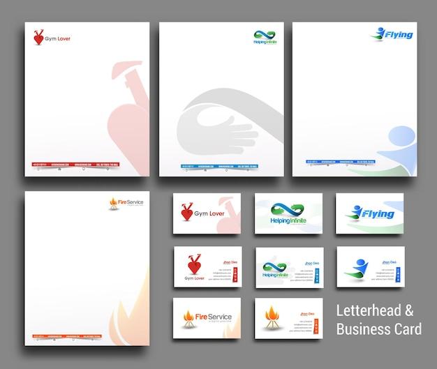 Coleção de modelos de papel timbrado e cartão de visita de identidade corporativa de estilo empresarial