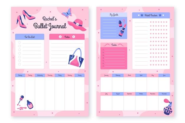 Coleção de modelos de planejador de diário com marcadores