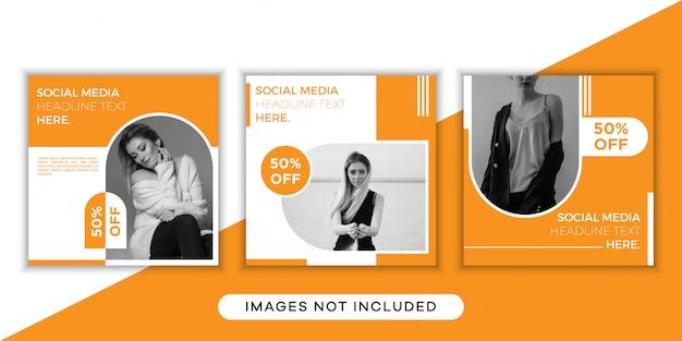 Coleção de modelos de postagem de mídia social da moda