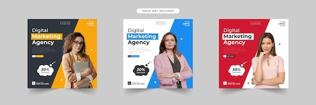 Coleção de modelos de postagem de mídia social de marketing digital