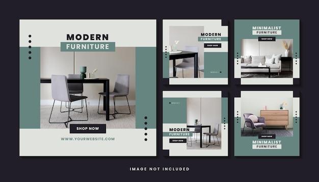 Coleção de modelos de postagem de mídia social de móveis modernos