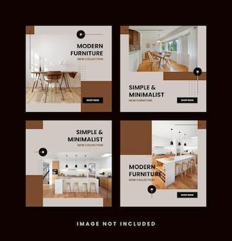 Coleção de modelos de postagem de mídia social minimalista de móveis