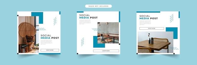 Coleção de modelos de postagem de mídia social minimalista para móveis modernos