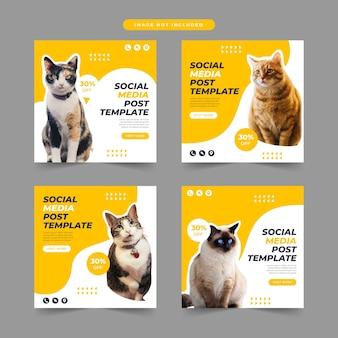 Coleção de modelos de postagem de promoção de pet shop